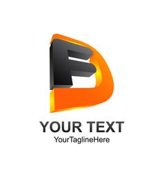 3d letter fd initial alphabet logo design vector