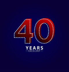 40 years excellent anniversary celebration red vector
