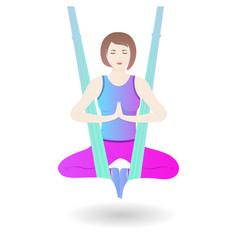 A girl hangs in a hammock in lotus position a vector