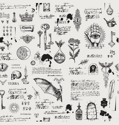 Abstract seamless pattern with sketches and notes vector