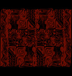 African tribal aborigines red ornament geometric vector