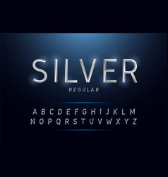 alphabet silver metallic and effect designs vector image