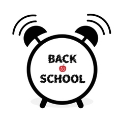 Back to school Alarm clock with chalk text White vector image