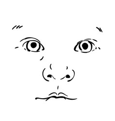 baface isolated drawing portrait adorable vector image