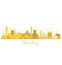 Bandung indonesia city skyline silhouette with vector