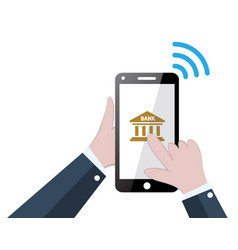 banking online concept with mobile phone and bank vector image