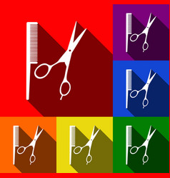barber shop sign set of icons with flat vector image