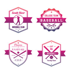 Baseball club team logo badges emblems vector
