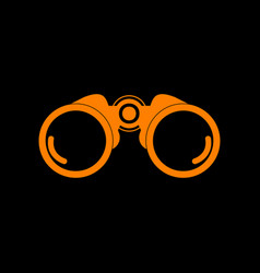Binocular sign orange icon on black vector
