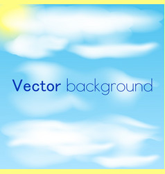 blue sky with clouds and sun sky background vector image