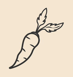Carrot vegetable icon hand drawn sketch style vector