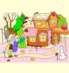 Childlike color story scene with pair of children vector
