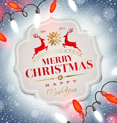 Christmas card with holiday type design vector image