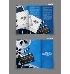 Cinema tri-fold brochure design vector image
