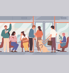 City bus full different passengers people vector