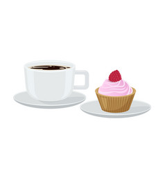coffee and cupcake with cream vector image