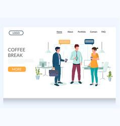 Coffee break website landing page design vector