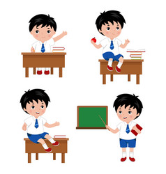 Collection of cute boys in school uniform vector