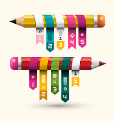 Colorful paper labels on pencils creative project vector