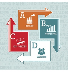 competitor analysis with infographics background vector image