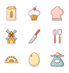 Cooking tools icons set flat style vector