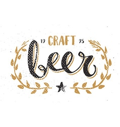 Craft Beer Template Hand Drawn Calligraphy Pen vector