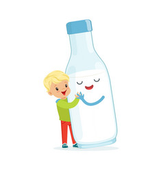 cute blonde little boy and funny milk bottle with vector image