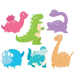 Cute Dinosaurs Collection vector image