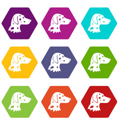 dalmatians dog icon set color hexahedron vector image