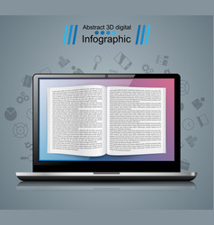 Digital gadget notebook book read ebook vector
