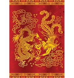 dragon and phoenix vector image
