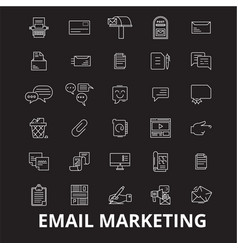 email marketing editable line icons set on vector image