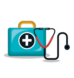 First aid kit stethoscope isolated vector