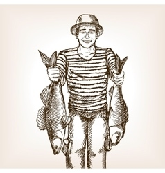 Fisherman with fish sketch vector image