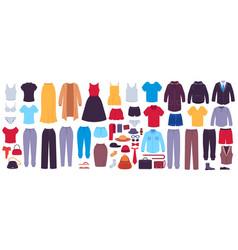 flat clothes women and men garments accessories vector image