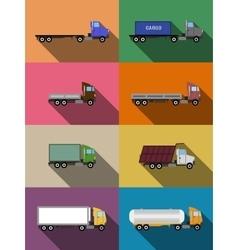 Flat commercial vehicles set vector
