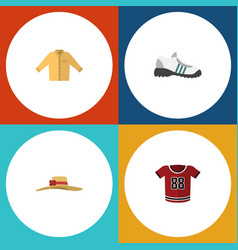 flat garment set of elegant headgear sneakers t vector image