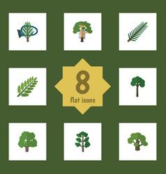 Flat icon bio set of decoration tree evergreen vector