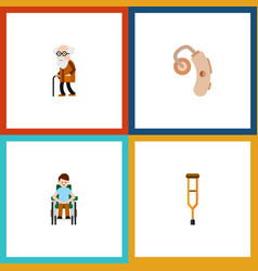 Flat icon cripple set stand disabled person vector