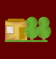 Flat icon in shading style house and garden vector