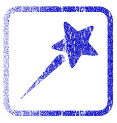 Flying star framed textured icon vector