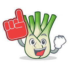 Foam finger fennel mascot cartoon style vector