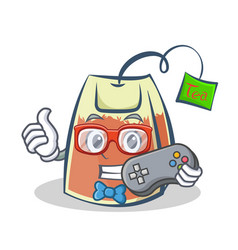 Gamer tea bag character cartoon art vector