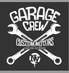 garage print crossed wrenches graphic design vector image
