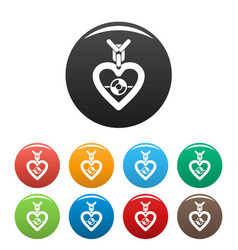 gemstone heart icons set color vector image