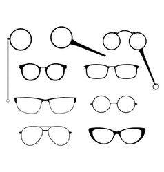 glasses silhouette set frames to modern vector image