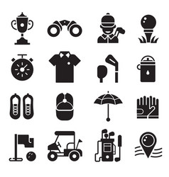 golf icons set in outline silhouette style vector image