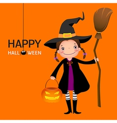 Halloween witch cute girl with broomstick vector