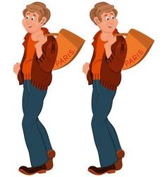 Happy cartoon man standing with bag over shoulder vector image