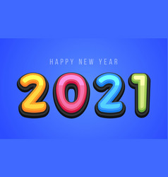 happy new year 2021 cute greeting card vector image